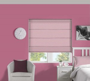 Crisscross Bubblegum Roman Blind