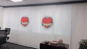 Heart Printed Panel Blind